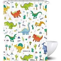 Homewelle Dibujos animados dinosaurios cortina de ducha 60 x 72 H colorido lindo dinosaurio animales salvajes divertidos…