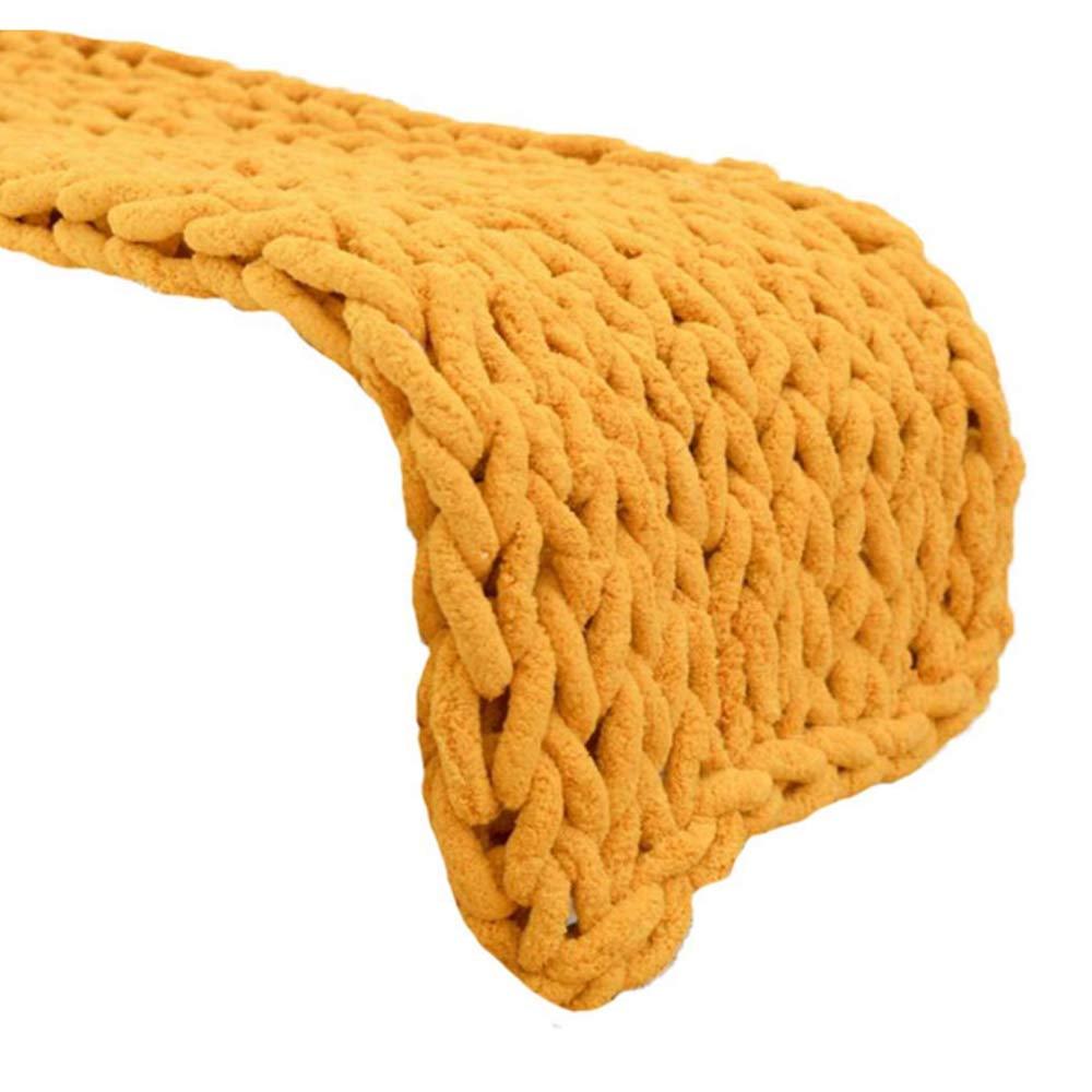 Turmeric 39x47inch Chunky Arm Knit Blanket Khaki Chenille Chunky Knit Blanket 39x59inch Jumbo Knit Yarn Baby Blanket Handmade Knit Blanket Thick Yarn Knit Blanket