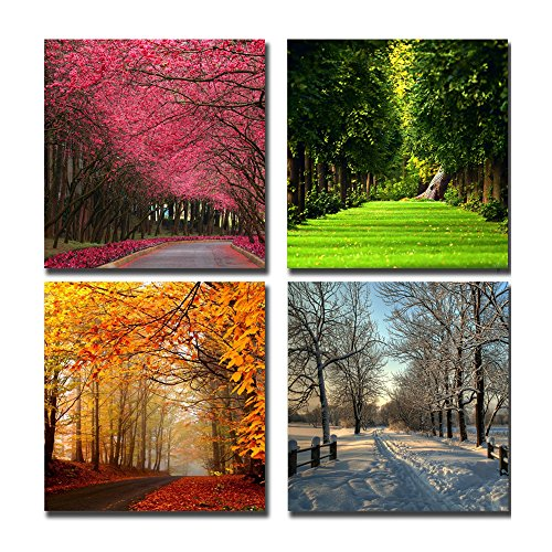 4 Piece Office Wall - Cairnsi 4 Piece Modern Framed Landscape Artwork Canvas Pictures Paintings on Canvas Wall Art for Living Room Bedroom Home Office Decorations£¬Four Seasons