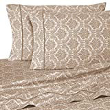400 Thread Count Luxurious 100% Egyptian Cotton Set of 4 Short Queen 60x75 (1 Fitted sheet,1 Flat Sheet, 2 Pillows covers) for Camper/RV by Rajlinen (Jacquard Printed Taupe)