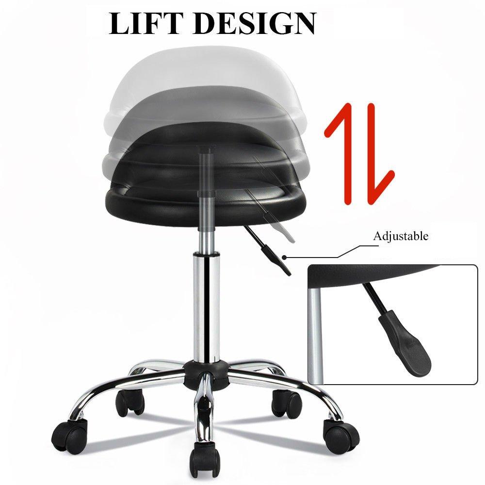 New Rolling Hydraulic Bar Stool Salon Barber Chair Spa Stool Pedicure / Manicure Nail Technician Massage Equipment | Black by Eosphorus (Image #5)