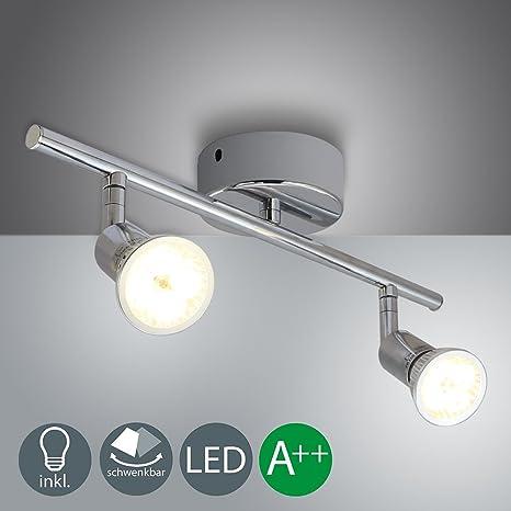 Barras de focos led gu10 4w Iluminación de luz foco direccional para techo-bar -closer con 2 luces blanco cálido Clase de eficiencia energética A++ ...