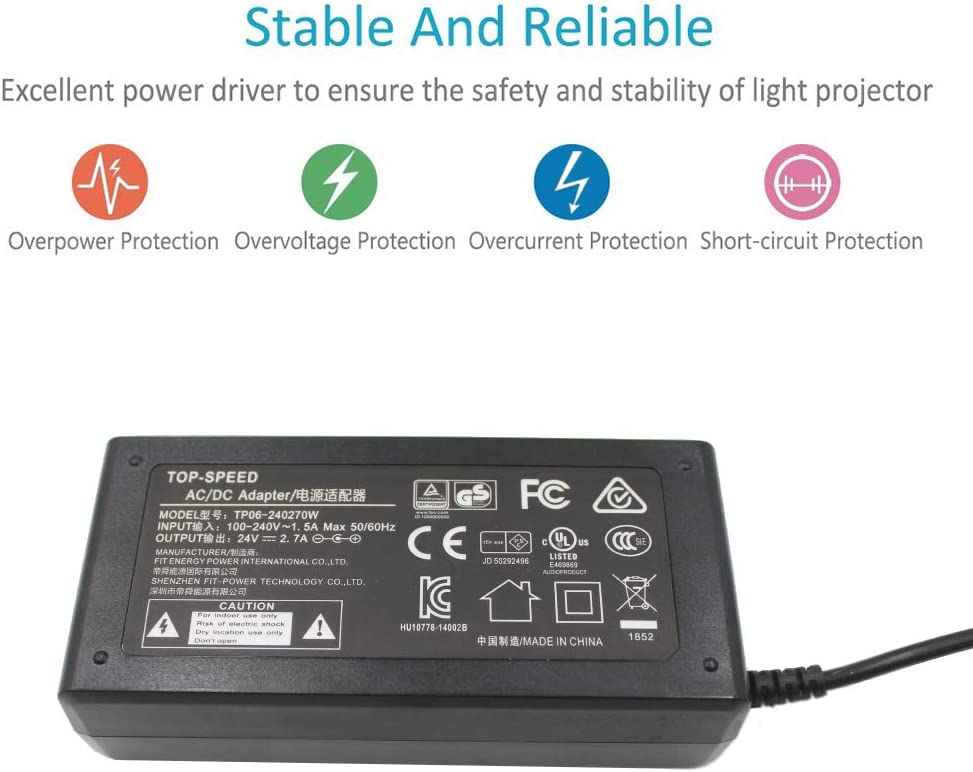 TOP-SPEED 24V Power Supply Adapter UL Listed for Vizio Soundbar VSB200 VSB205 VSB210 VSB206 VSB207 VSB200 VSB210WS VHT215 VHT510 P//N:90012422801 S065BP2400250 SB4021-MA1 Speaker Home Theater SoundBar