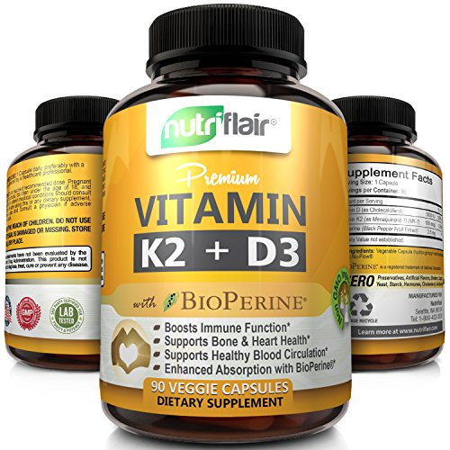 NutriFlair Vitamin K2 (MK7) with D3 5000 IU Supplement with BioPerine (Black Pepper) for Immune System Support, Strong Bones and Heart Health (90 Tiny Easy to Swallow Vegetable Capsules)