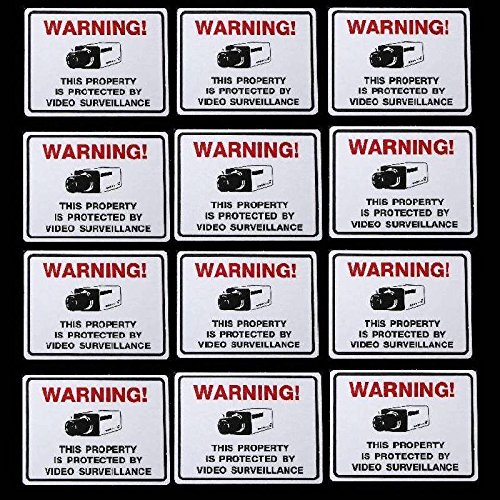 12 SECURITY CAMERAS IN USE WARNING STICKER DECALS LOT - Tint Red Arlo