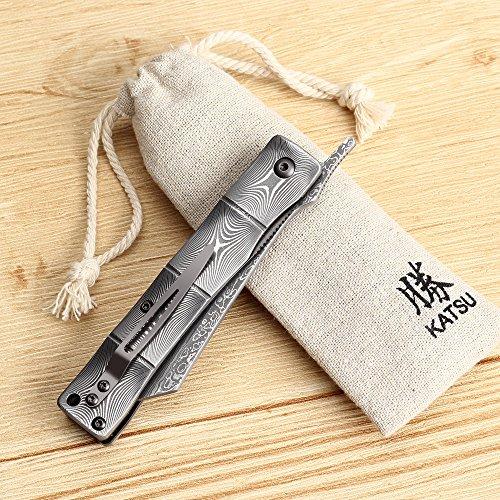 KATSU Handmade Full Damascus Steel Bamboo Style Japanese Razor Pocket Folding Knife with Pocket Clip
