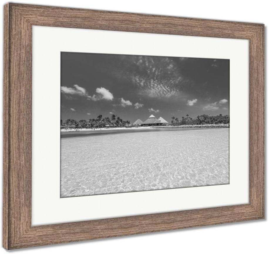 Ashley Framed Prints Flamingo Beach at Aruba Renaissance Aruba Private Island, Wall Art Home Decoration, Black/White, 30x35 (Frame Size), Rustic Barn Wood Frame, AG5776705