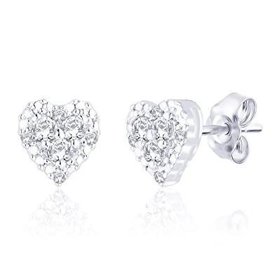 Peora Sterling-Silver Stud Earring For Girls Silver- PE3030 Earrings at amazon
