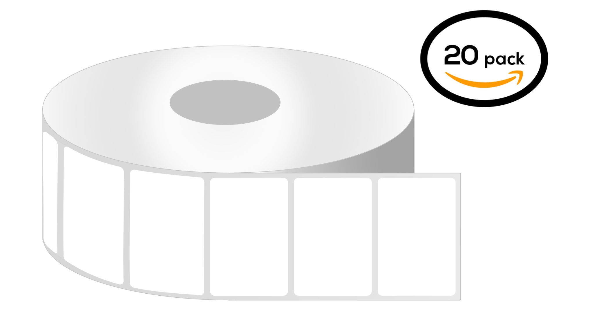 1 Inch Core - 2.25 x 2 Zebra Compatible Ribbon Required Thermal Transfer Labels 20 Rolls for Zebra Desktop Printer GC420t GK420t GX420t GX430t TLP2824 TLP2824Plus TLP2422 TLP2844 TLP2442