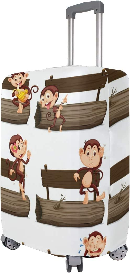 3D Happy Monkey The Chair Print Luggage Protector Travel Luggage Cover Trolley Case Protective Cover Fits 18-32 Inch