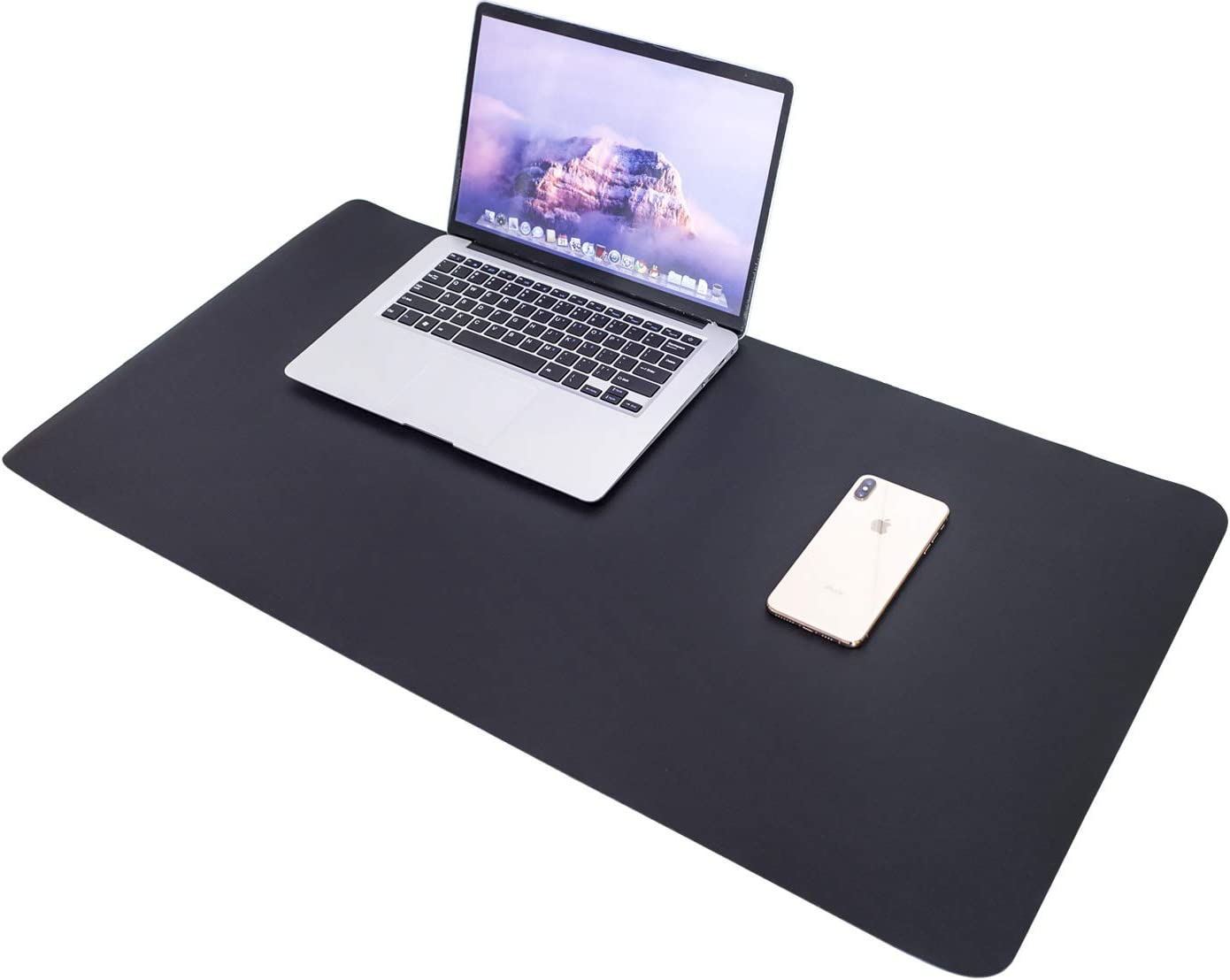 """Desk Mat Large Mouse Pad, Leather Desk Pad Home Office Supplies Decor for Women/Men, Desk Mats on Top of Desks Used As a Gaming Mouse Pad/Makeup Desk Pad/Coffee Table Décor (35.4""""x17"""", Black)"""