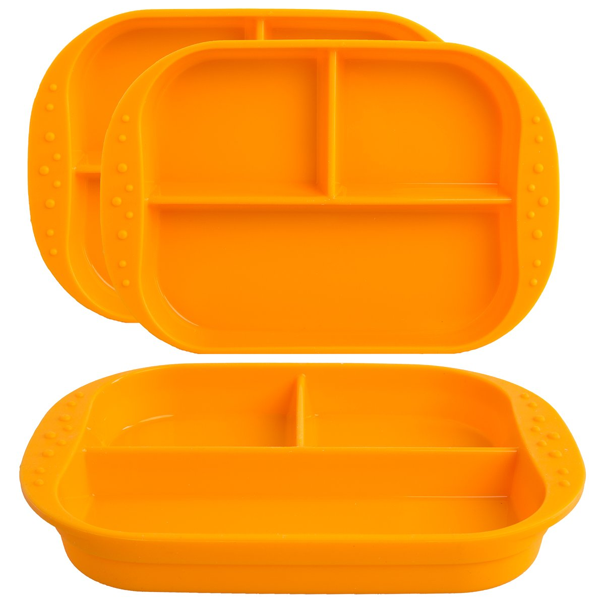 Kinderville (3 Pack) Silicone Kids Plates With Dividers Microwave Safe BPA Free Toddler Divided Plates