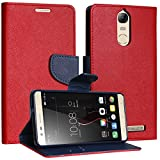 DMG Synthetic Leather Slim Wallet Flip Cover Case with Card Slots and Magnet Closure for Lenovo K5 Note (Red)