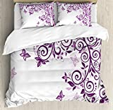 Mauve Decor Duvet Cover Set by Ambesonne, Classic Twiggy French Style Lilium Floral Branch Lovely Swirls Decor, 3 Piece Bedding Set with Pillow Shams, Queen / Full, Violet