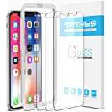 iPhone X Screen Protector (3-Pack + Guidance Frame), TETHYS Tempered Glass Screen Protectors for iPhone X / iPhone 10 2017 [Case Friendly / Easy Installation] [Ultra Clear] [Shatter Proof] - 3 Pack