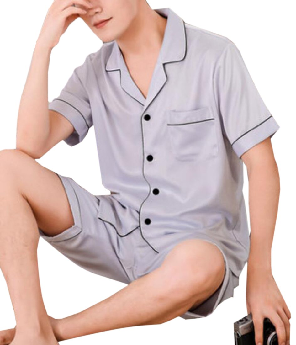 UUYUK-Men Summer Sleepwear Silk Stain Short Sleeve Pajama Shorts and Top Set