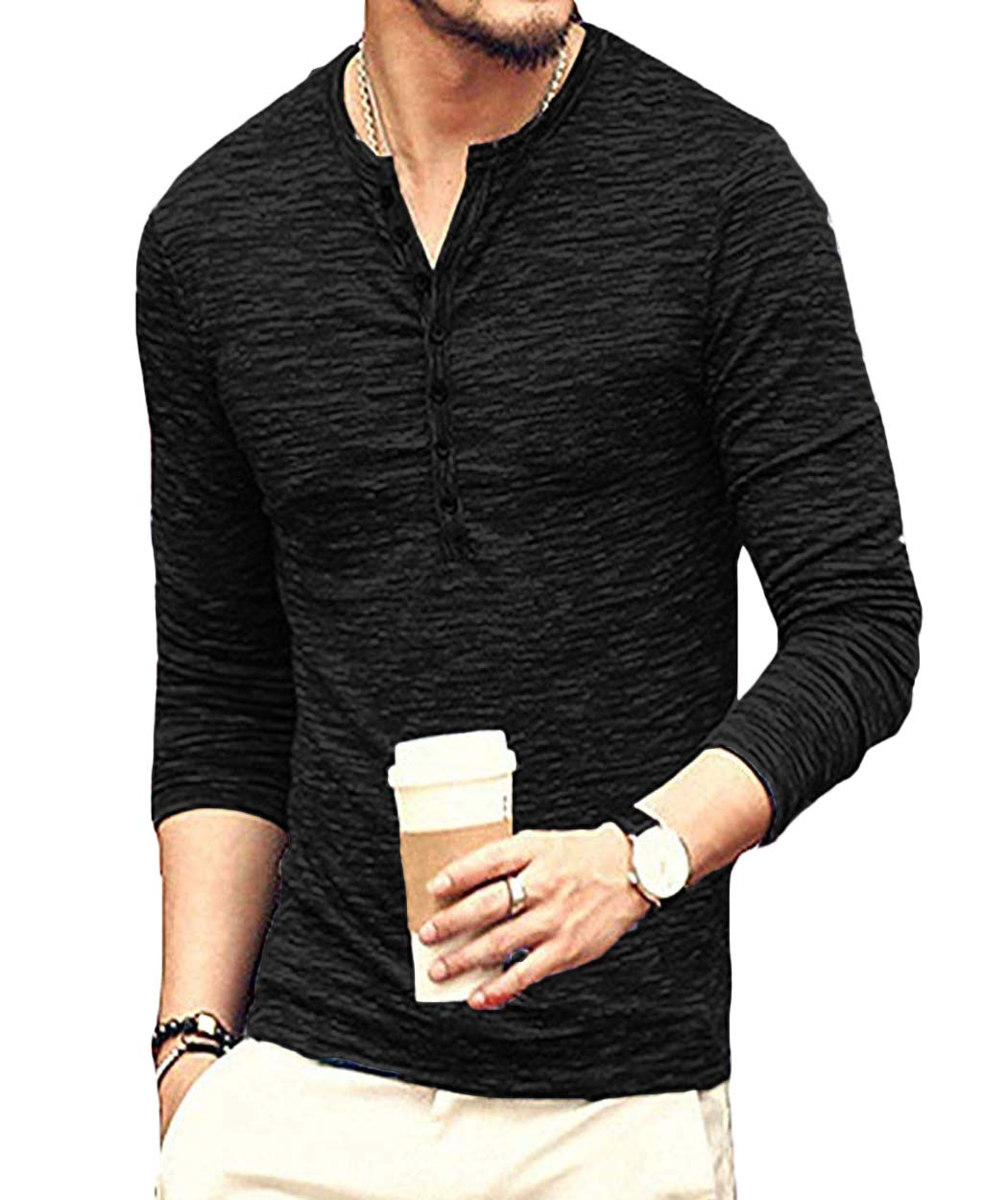 Neoyowo Men's Henley Shirt Casual Slim Fit Long Sleeve T-Shirt Soft V Neck Buttons Muscle Tops (Black, M)