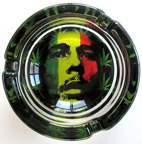 Bob-Marley-Red-Gold-Green-Marijuana-Weed-Round-Glass-Ashtray