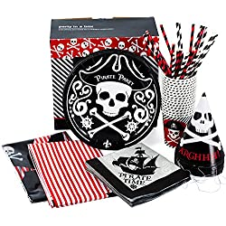 Pirate Party Supplies - Set for 16 Guests - Pirate Themed Birthday Party - Pirate Party Pack - Pirate Theme Party Supplies by Tigerdoe