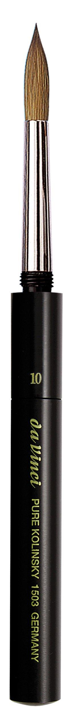 da Vinci Travel Series 1503 Maestro Watercolor Brush, Round Kolinsky Red Sable with Pocket Case Handle, Size 10