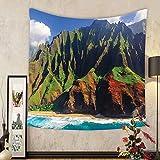 Gzhihine Custom tapestry Hawaiian Decor Tapestry Aerial View of Na Pali Coast Kauai Hawaii Mountain Cliff Seacoast Scenic Photo for Bedroom Living Room Dorm Green and Brown