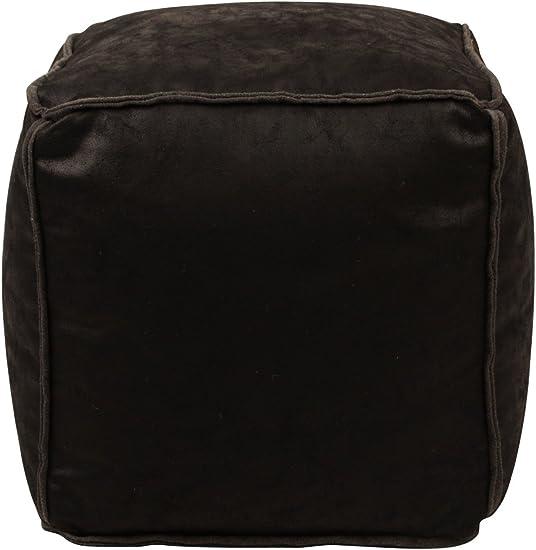Lux Home Antique Faux Leather Black Bean Bag Pouf