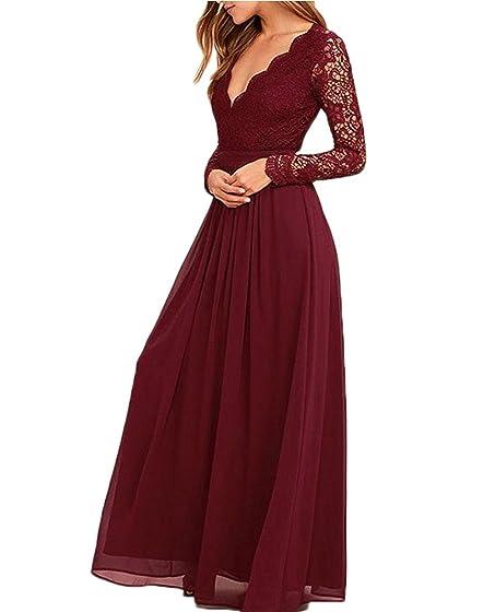 STDRESS Womens V Neck Long Sleeves Prom Dress Backless Chiffon Bridesmaid Gowns Size 2 Burgundy