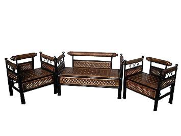 Awe Inspiring Delhwis Wooden Wrought Iron Sofa Set 2 1 1 For Living Pdpeps Interior Chair Design Pdpepsorg