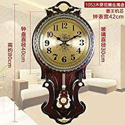 Continental King Size Table Solid Wood Living Room Wall Clock Retro Quiet Bedroom Simple Round Modern Clocks And Creative Clock,20 Inch,1053 Sunflower Café
