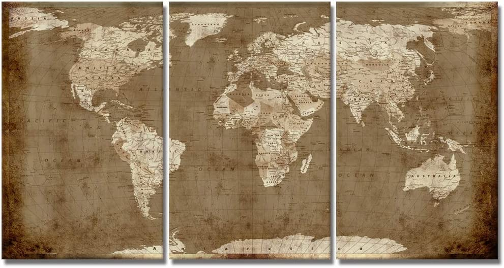 Visual Art Decor Retro Brown and Beige World Map Canvas Prints Atlas Framed Rustic Map Wall Art Decor for Travel Pin Marks Map Pictures Office Living Room Decoration