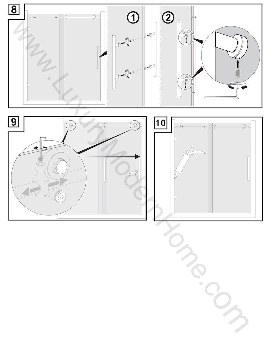 ssh COLOGNE - Modern Frameless Sliding Shower Bathtub Door HARDWARE ONLY Modern Brushed Satin Stainless Steel 304