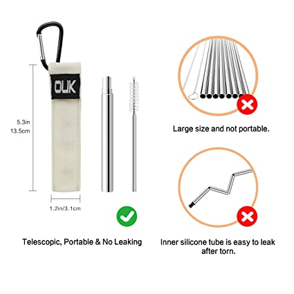 Reusable Collapsible Stainless Steel Straw – KudoVita Telescopic Metal  Straws Adjustable for Kids Adults with Cleaning Brush, Portable Woven Bag  and