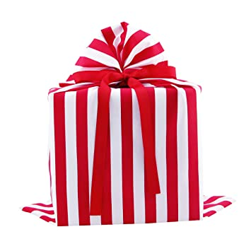 Red And White Striped Reusable Fabric Gift Bag For Birthday Valentines Day Christmas Or