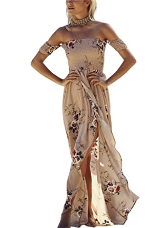 0507256da9 Amazon.com: Women's Summer Boho Off The Shoulder Long Maxi Casual Dresses  Split (S, C2821kaqi): Clothing