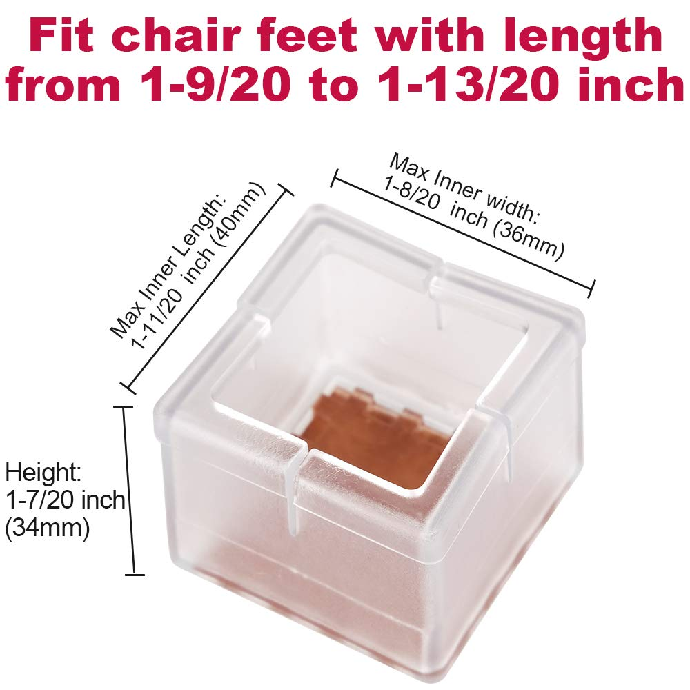 Chair Leg Floor Protectors Chair Leg Caps 1-1/2 to 1-5/8 Inch Square Furniture Leg Caps Table Chair Feet Protectors with Felt Pads, Color Clear (16 Pack) (Fit 36mm-41mm) by Anwenk (Image #2)