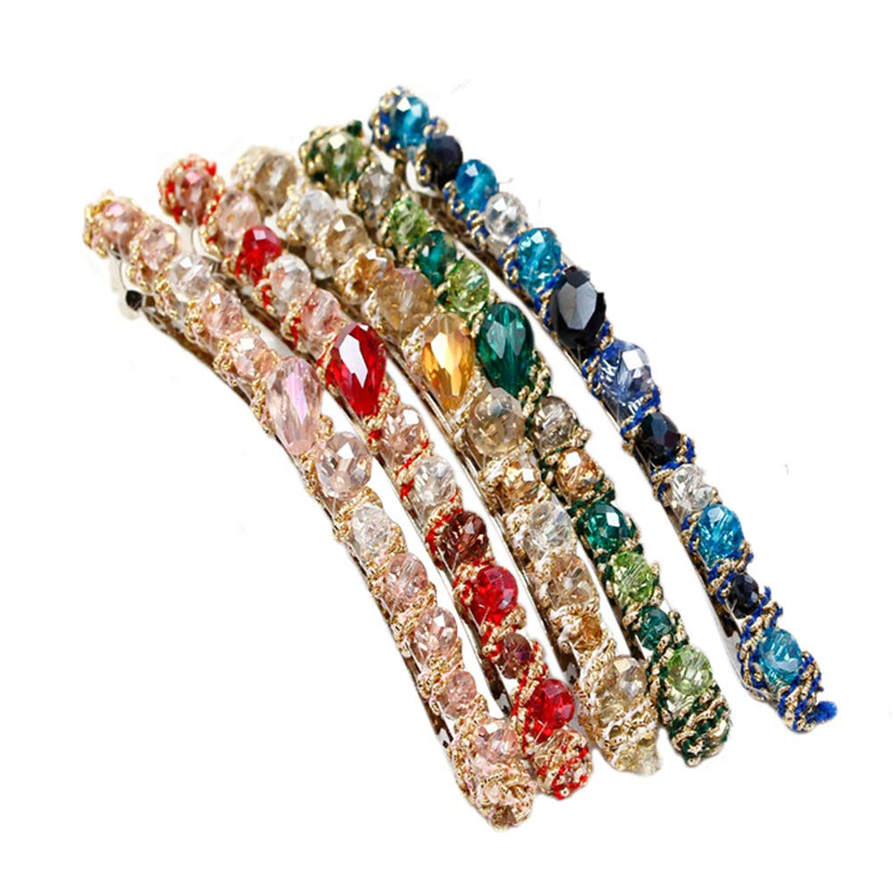 5 Pcs Women Rhinestone Hair Pins, Fashion Jewelry Bling Bling Crystal Irregular Band Hairpin for Girls, Hair Accessories Barrettes Hair Clip Colorful Hair Styling Tool for Hairdressing Sealive
