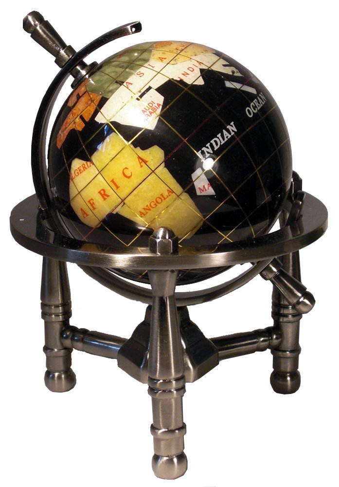 Unique Art 6-Inch by Black Onyx Ocean Mini Table Top Gemstone World Globe with Silver Tripod