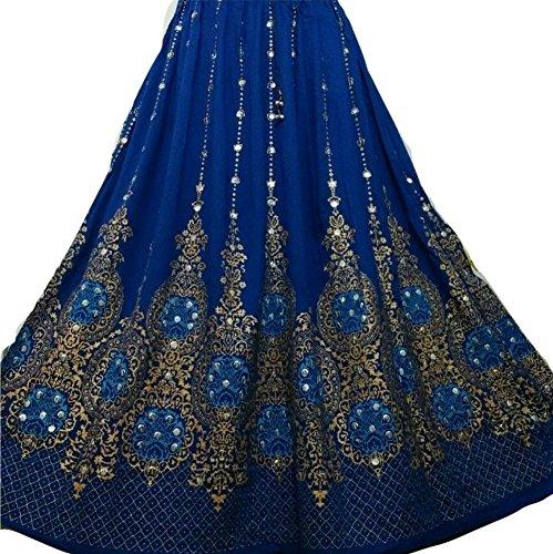 Dancers World Ltd - Falda larga de lentejuelas de bonito diseño, estilo hippie bohemio, para danza del vientre, Royal Blue Gold with Turq inset Royal Blue Gold with Turq inset
