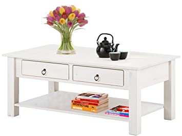 Loft24 ILONA Couchtisch Wohnzimmertisch 2 Schubladen Beistelltisch  Kaffeetisch 110 X 60 Cm Kiefer Holz Landhaus (