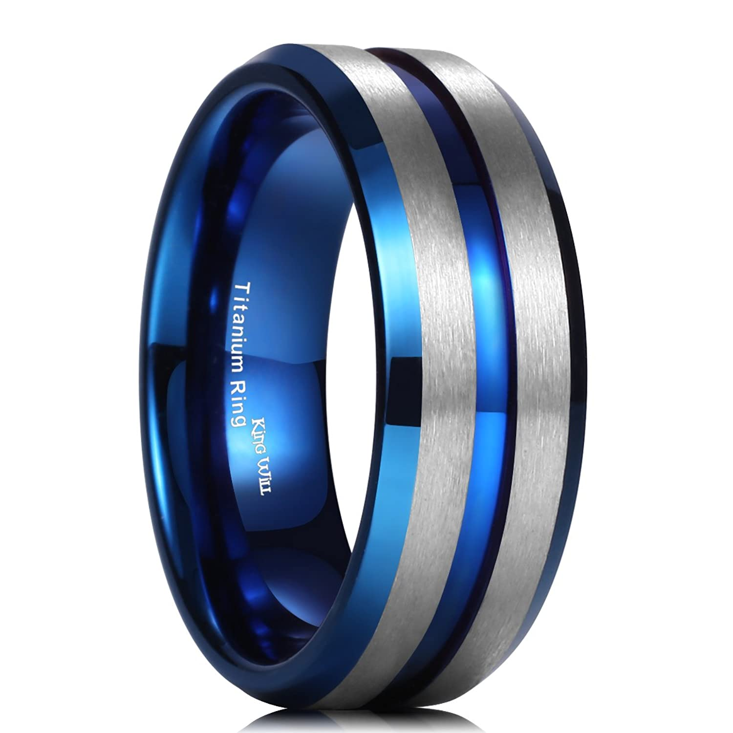 King Will DUO 8MM Brushed Matte Titanium Ring Blue Thin Groove