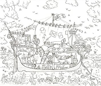 Amazon.com: Pirate Ship Coloring Poster - Really Giant Size: 30 x ...