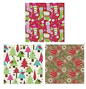 The Gift Wrap Company 3-Count Premium Holiday Wrapping Paper Roll Sets, Cozy Christmas