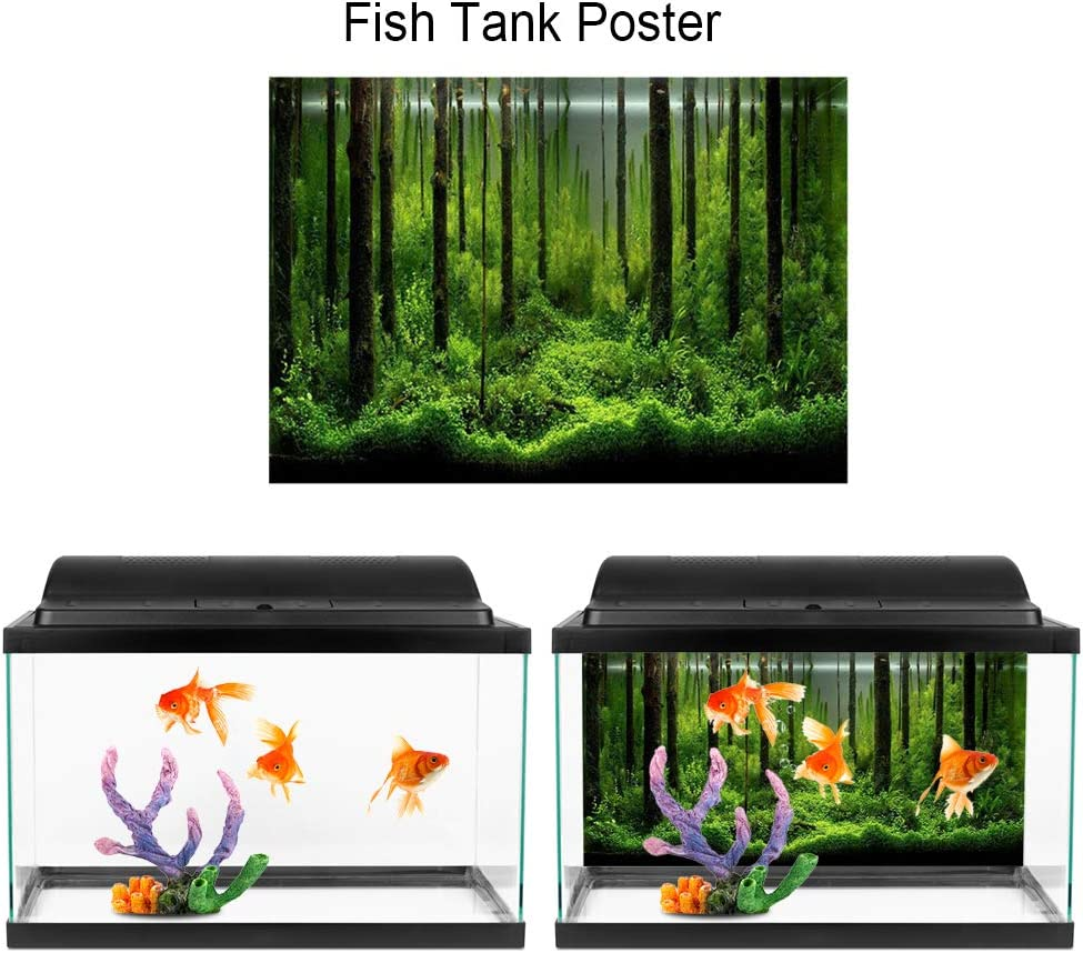91 * 50cm Aquarium Background 3D Double-Sided Underwater Forest Pattern Adhesive Wallpaper Fish Tank Decorative Pictures Underwater Backdrop Image Decor for Aquarium