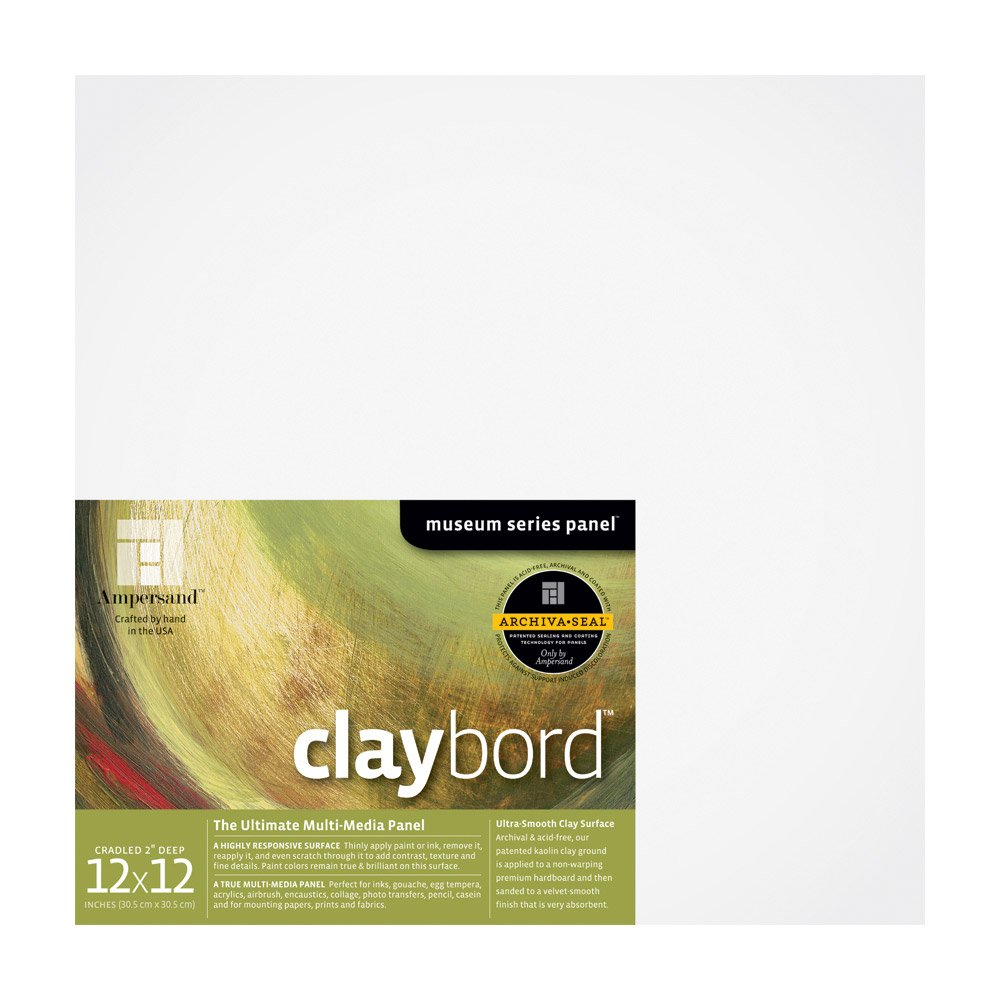Ampersand Museum Series Claybord Panels for Paint and Ink, 2 Inch Depth Cradled, 12X12 Inch (CBSWC122) by Ampersand