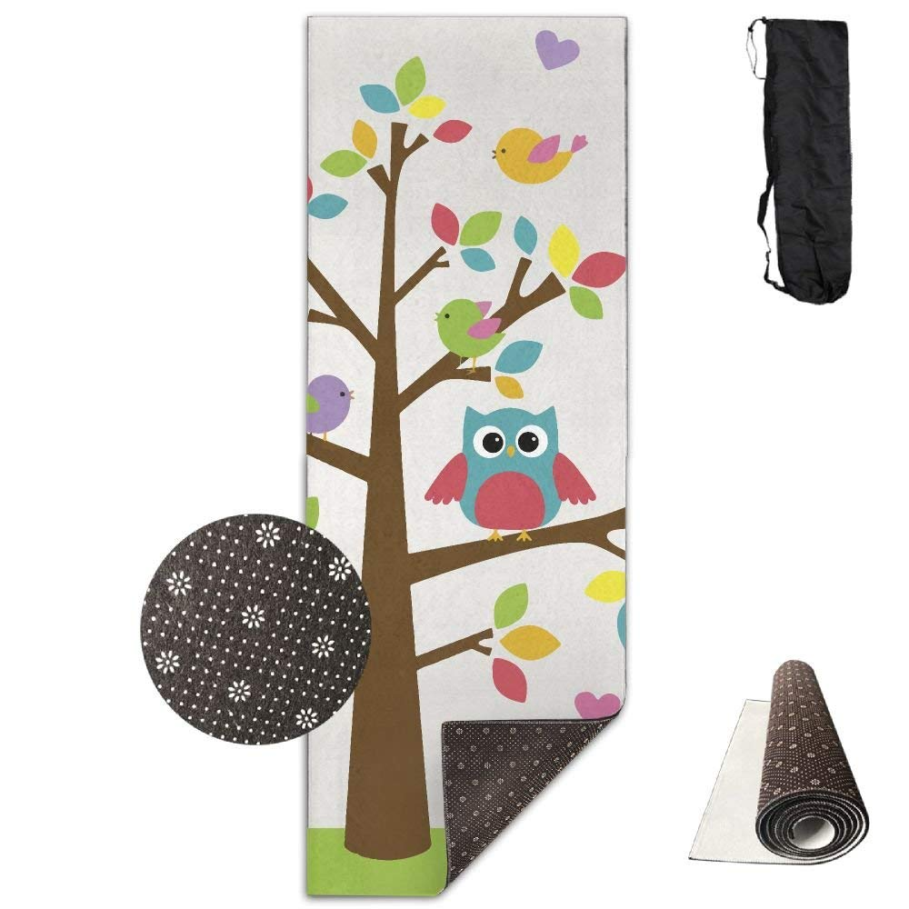 Summer Owl Tree Deluxe Yoga Mat Aerobic Exercise Pilates