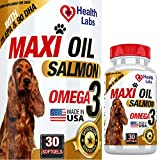 Health Labs Wild Salmon Fish Oil Capsules for Dogs & Cats - Stop Dogs Shedding Fast - Effective Dog Dry Skin Treatment - Omega 3 Protects Joints - Natural Pet Supplement for Shiny Coats - 30 Capsules