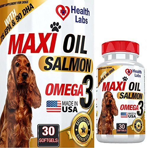 Health Labs Wild Salmon Fish Oil Capsules for Dogs & Cats - Stop Dogs Shedding Fast - Effective Dog Dry Skin Treatment - Omega 3 Protects Joints - Natural Pet Supplement for Shiny Coats - 30 Capsules by Salmon Oil For Dogs & Cats