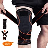 Knee Brace, SKL Support Compression Sleeves with Straps for Pain Relief Meniscus Tear Arthritis Running Basketball Cycling ACL MCL Quick Recovery Men & Women - Single