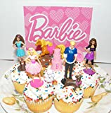 Barbie, Ken and Friends Toy Doll Figure Birthday Cake Toppers / Cupcake Party Favor Decorations Set of 9