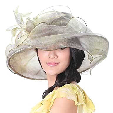e7f1f147761f79 June's Young Women Race Hats Organza Hat with Ruffles Feathers ...